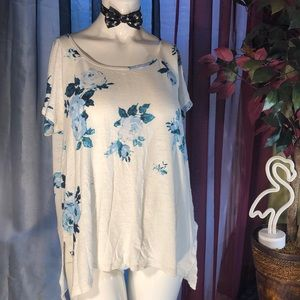 Lucky Brand Delicate Blue Flowered Tee.